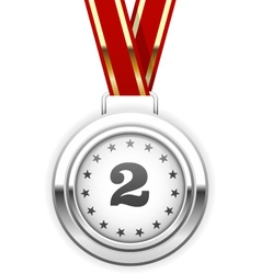 Winner silver medal on ribbon - second place vector