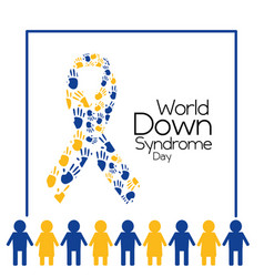 world down syndrome day people and ribbon made vector image