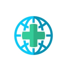 World globe medical travel insurance logo vector