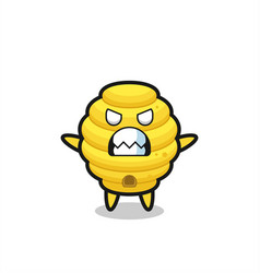 Wrathful expression of the bee hive mascot vector