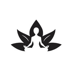 yoga lotus icon black and white drawing vector image