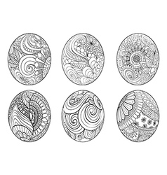 Zentangle easter eggs for coloring book for adult vector