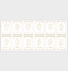 Zodiac womans horoscope signs linear silhouettes vector