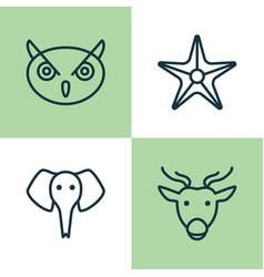 Zoology icons set collection of starfish trunked vector