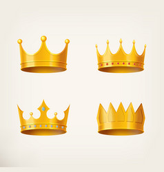 3d golden crown for queen or monarch king vector image vector image