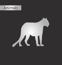 black and white style icon of panther vector image
