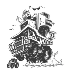 construction truck on back wheels and smoke vector image vector image