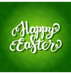 Happy easter lettering on floral green pattern vector image vector image