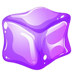 Purple ice cube on white vector