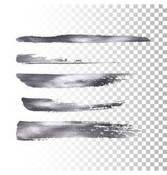 Silver metallic paint brush stroke set vector