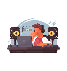 sound designer on workplace vector image