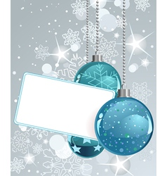 white blank label with christmas balls vector image vector image