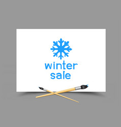drawing winter sale on paper vector image vector image