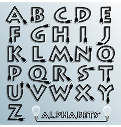 Electric wire and plug alphabets font style vector