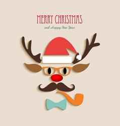 Merry Christmas reindeer cartoon vector image vector image