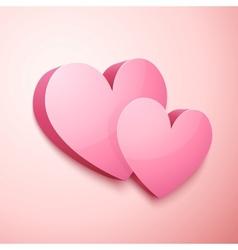 Realistic pastel Valentines hearts vector image