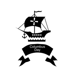 Ship and ribbon of Columbus day icon simple style vector image vector image