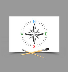 drawing world map directions on paper vector image vector image