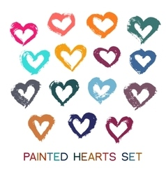 Brush Strokes Hearts Set vector image vector image