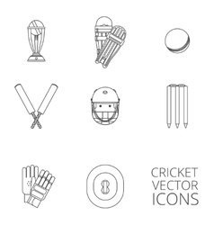 Cricket icons set black outline vector image vector image