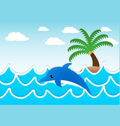 Dolphin jumping in the sea vector image vector image