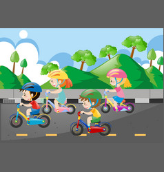 Four children riding bicycle on the road vector