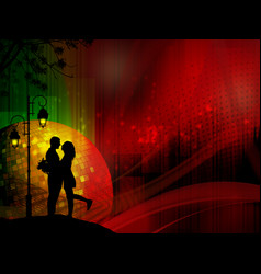 lovers under street lamp poster or banner vector image vector image