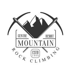 mountain rock climbing centre resort logo vector image vector image