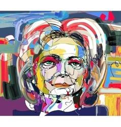 original abstract digital painting of woman face vector image vector image