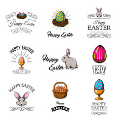 set of cute easter cartoon characters vector image