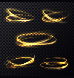 shining light rings on transparent background vector image