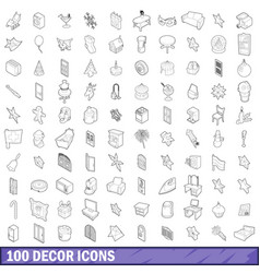 100 decor icons set outline style vector image