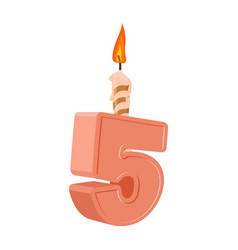 5 years birthday number with festive candle for vector image