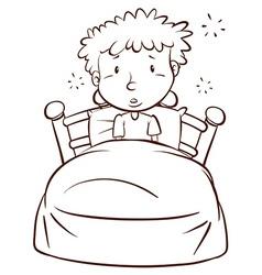 A plain sketch a boy waking up vector