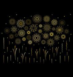 Abstract art deco burst gold pattern fireworks set vector