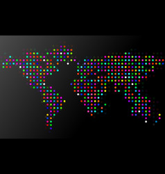 abstract colorful world map of dots vector image