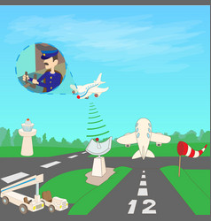 Airport concept runway cartoon style vector