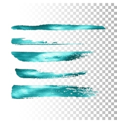 Azure metallic paint brush stroke set vector image