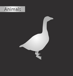 Black and white style icon of goose vector