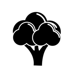 Black contour health broccoli vegetable icon vector