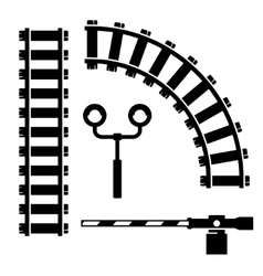 Black objects for rail road icons set vector