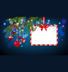 blue christmas tree banner vector image
