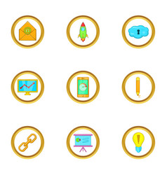 business project icons set cartoon style vector image