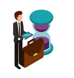 Businessman with hourglass and portfolio vector