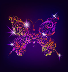 butterfly with decorative ornamental pattern in vector image