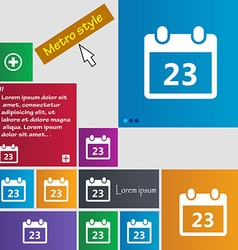 calendar page icon sign buttons Modern interface vector image