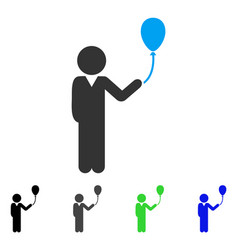Child with balloon flat icon vector