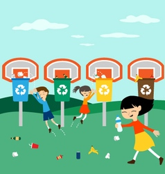 Children recycle playing at basket with recycling vector image