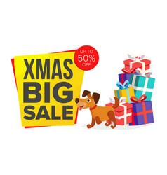 christmas dog cartoon characters bector happy dog vector image