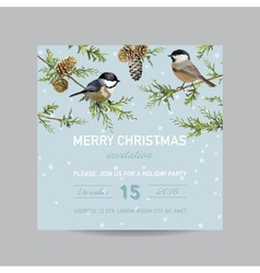 Christmas Invitation Card - Winter Birds vector